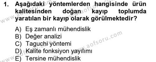 Üretim Yönetimi Dersi 2012 - 2013 Yılı Ara Sınavı 1. Soru
