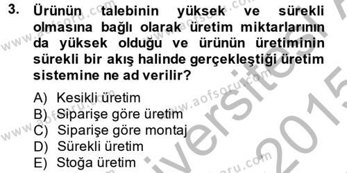 Üretim Yönetimi Dersi 2014 - 2015 Yılı Dönem Sonu Sınavı 3. Soru
