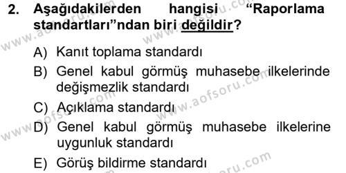 İşletme Bölümü 7. Yarıyıl Denetim Dersi 2013 Yılı Güz Dönemi Ara Sınavı 2. Soru
