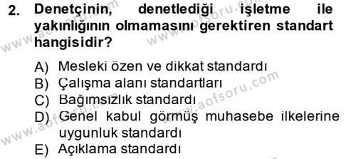 Denetim Dersi 2012 - 2013 Yılı Dönem Sonu Sınavı 2. Soru