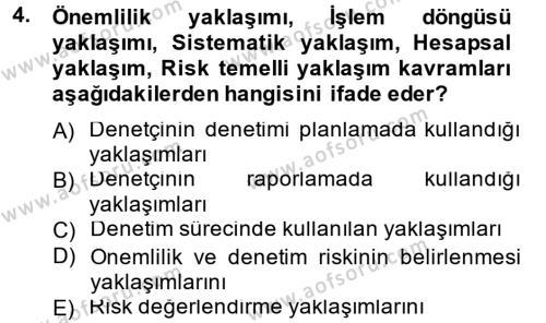 Denetim Dersi 2012 - 2013 Yılı Dönem Sonu Sınavı 4. Soru