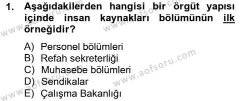 Kamu Yönetimi Bölümü 8. Yarıyıl İnsan Kaynakları Yönetimi Dersi 2013 Yılı Bahar Dönemi Ara Sınavı 1. Soru