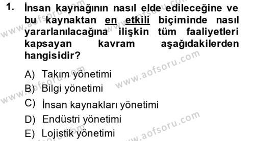 Kamu Yönetimi Bölümü 8. Yarıyıl İnsan Kaynakları Yönetimi Dersi 2014 Yılı Bahar Dönemi Ara Sınavı 1. Soru