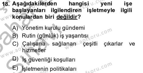 İnsan Kaynakları Yönetimi Dersi 2013 - 2014 Yılı Ara Sınavı 18. Soru 1. Soru