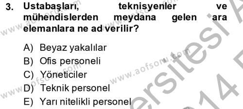 Turizm ve Otel İşletmeciliği Bölümü 4. Yarıyıl İnsan Kaynakları Yönetimi Dersi 2014 Yılı Bahar Dönemi Ara Sınavı 3. Soru