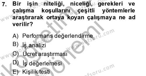 İnsan Kaynakları Yönetimi Dersi 2013 - 2014 Yılı Ara Sınavı 7. Soru 1. Soru