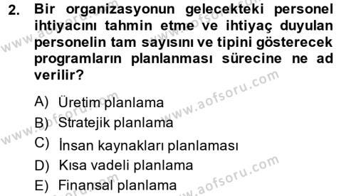 İnsan Kaynakları Yönetimi Dersi 2013 - 2014 Yılı (Final) Dönem Sonu Sınav Soruları 2. Soru
