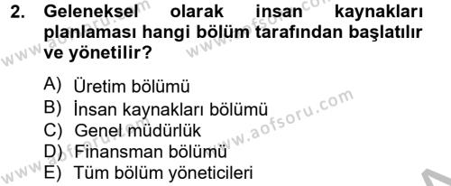 İnsan Kaynakları Yönetimi Dersi 2014 - 2015 Yılı (Final) Dönem Sonu Sınav Soruları 2. Soru