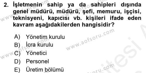 Kamu Yönetimi Bölümü 8. Yarıyıl İnsan Kaynakları Yönetimi Dersi 2016 Yılı Bahar Dönemi Ara Sınavı 2. Soru