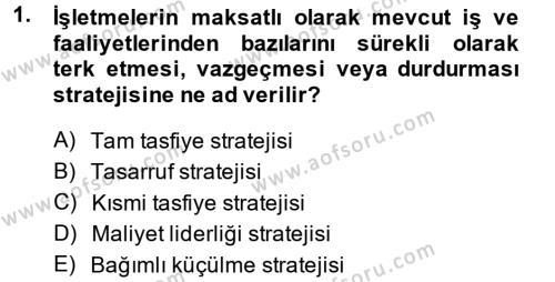 Stratejik Yönetim 2 Dersi 2013 - 2014 Yılı Ara Sınavı 1. Soru