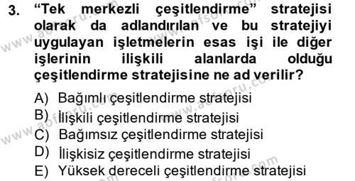 Stratejik Yönetim 2 Dersi 2014 - 2015 Yılı Ara Sınavı 3. Soru