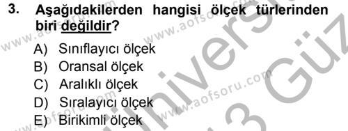 İktisat Bölümü 3. Yarıyıl İstatistik I Dersi 2013 Yılı Güz Dönemi Ara Sınavı 3. Soru
