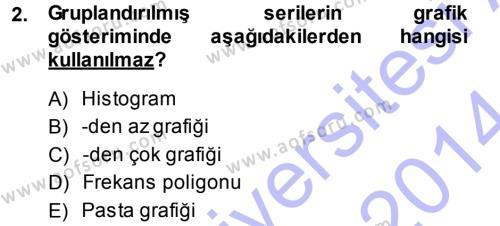 İktisat Bölümü 3. Yarıyıl İstatistik I Dersi 2014 Yılı Güz Dönemi Ara Sınavı 2. Soru