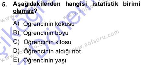 İktisat Bölümü 3. Yarıyıl İstatistik I Dersi 2014 Yılı Güz Dönemi Ara Sınavı 5. Soru