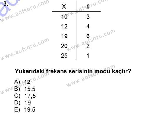 İstatistik 1 Dersi 2013 - 2014 Yılı Dönem Sonu Sınavı 3. Soru
