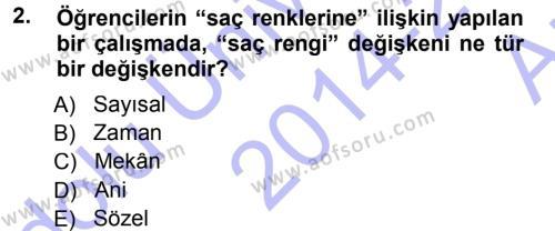 İktisat Bölümü 3. Yarıyıl İstatistik I Dersi 2015 Yılı Güz Dönemi Ara Sınavı 2. Soru