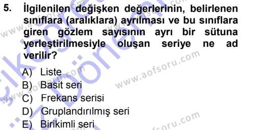 İktisat Bölümü 3. Yarıyıl İstatistik I Dersi 2015 Yılı Güz Dönemi Ara Sınavı 5. Soru