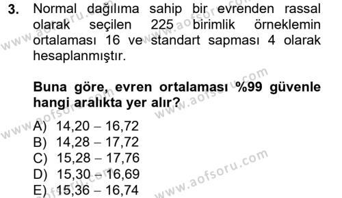 Çalışma Ekonomisi ve Endüstri İlişkileri Bölümü 4. Yarıyıl İstatistik II Dersi 2013 Yılı Bahar Dönemi Dönem Sonu Sınavı 3. Soru