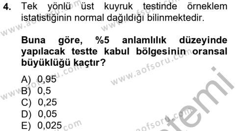 İstatistik 2 Dersi 2012 - 2013 Yılı Dönem Sonu Sınavı 4. Soru