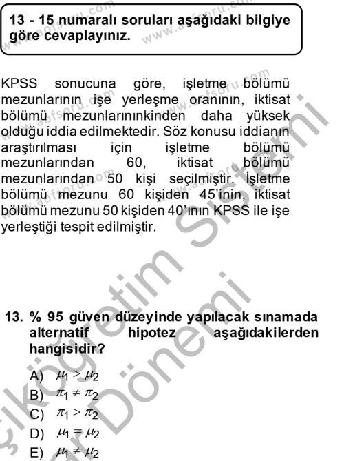 İstatistik 2 Dersi Ara Sınavı Deneme Sınav Soruları 13. Soru
