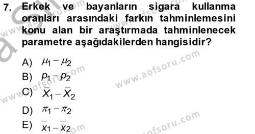 İstatistik 2 Dersi Ara Sınavı Deneme Sınav Soruları 7. Soru