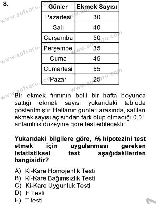İstatistik 2 Dersi Dönem Sonu Sınavı Deneme Sınav Soruları 8. Soru