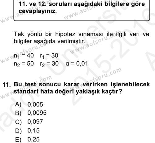 İstatistik 2 Dersi Ara Sınavı Deneme Sınav Soruları 11. Soru
