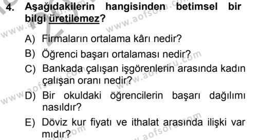 Maliye Bölümü 3. Yarıyıl İstatistik Dersi 2013 Yılı Güz Dönemi Ara Sınavı 4. Soru