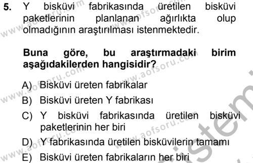 Maliye Bölümü 3. Yarıyıl İstatistik Dersi 2013 Yılı Güz Dönemi Ara Sınavı 5. Soru