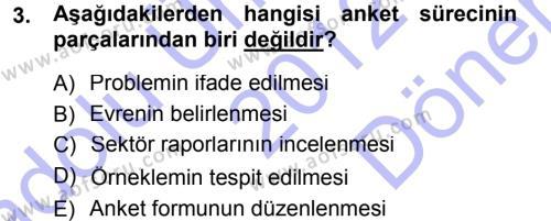 Sosyal Hizmet Bölümü 3. Yarıyıl İstatistik Dersi 2013 Yılı Güz Dönemi Dönem Sonu Sınavı 3. Soru
