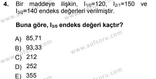 Kamu Yönetimi Bölümü 3. Yarıyıl İstatistik Dersi 2013 Yılı Güz Dönemi Dönem Sonu Sınavı 4. Soru
