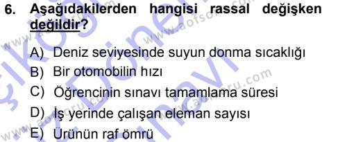 İstatistik Dersi 2012 - 2013 Yılı (Final) Dönem Sonu Sınavı 6. Soru