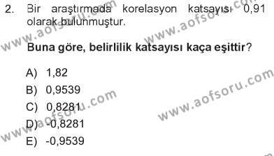 Lojistik Bölümü 3. Yarıyıl İstatistik Dersi 2013 Yılı Güz Dönemi Tek Ders Sınavı 2. Soru