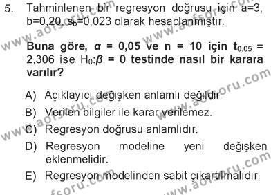 Lojistik Bölümü 3. Yarıyıl İstatistik Dersi 2013 Yılı Güz Dönemi Tek Ders Sınavı 5. Soru