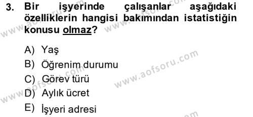 İstatistik Dersi 2013 - 2014 Yılı (Vize) Ara Sınav Soruları 3. Soru