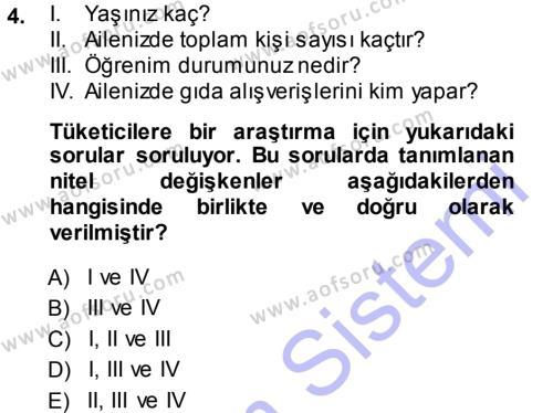 İstatistik Dersi 2013 - 2014 Yılı (Vize) Ara Sınav Soruları 4. Soru