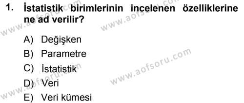 İstatistik Dersi 2013 - 2014 Yılı Dönem Sonu Sınavı 1. Soru