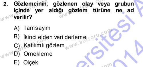 İstatistik Dersi 2013 - 2014 Yılı Dönem Sonu Sınavı 2. Soru
