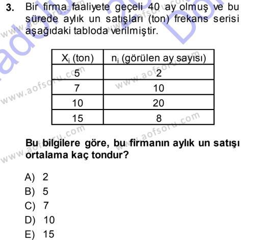 Bankacılık ve Sigortacılık Bölümü 3. Yarıyıl İstatistik Dersi 2014 Yılı Güz Dönemi Dönem Sonu Sınavı 3. Soru