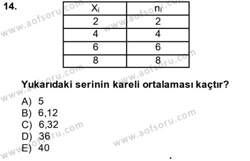 İstatistik Dersi 2014 - 2015 Yılı (Vize) Ara Sınavı 14. Soru