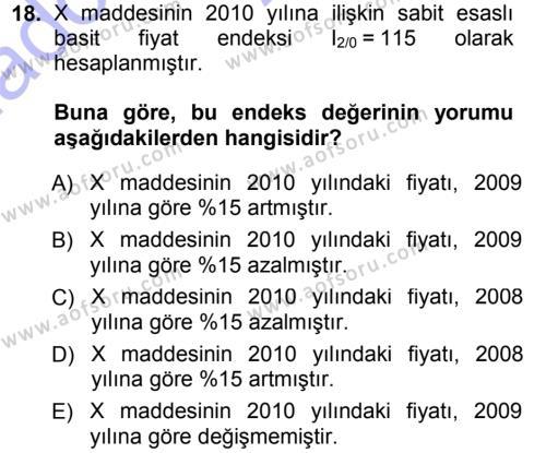 İstatistik Dersi 2014 - 2015 Yılı (Vize) Ara Sınavı 18. Soru