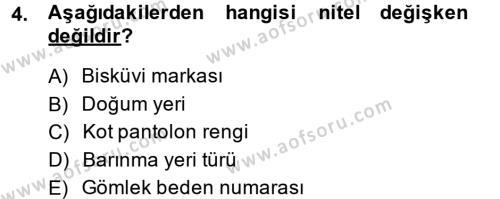 Sosyal Hizmet Bölümü 3. Yarıyıl İstatistik Dersi 2015 Yılı Güz Dönemi Ara Sınavı 4. Soru
