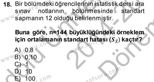 İstatistik Dersi Dönem Sonu Sınavı Deneme Sınav Soruları 18. Soru