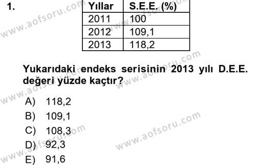 İstatistik Dersi 2015 - 2016 Yılı Dönem Sonu Sınavı 1. Soru