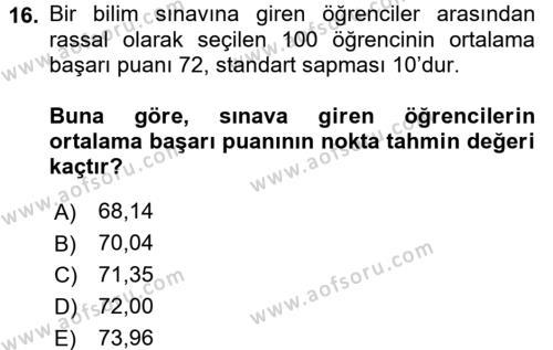 İstatistik Dersi Dönem Sonu Sınavı Deneme Sınav Soruları 16. Soru