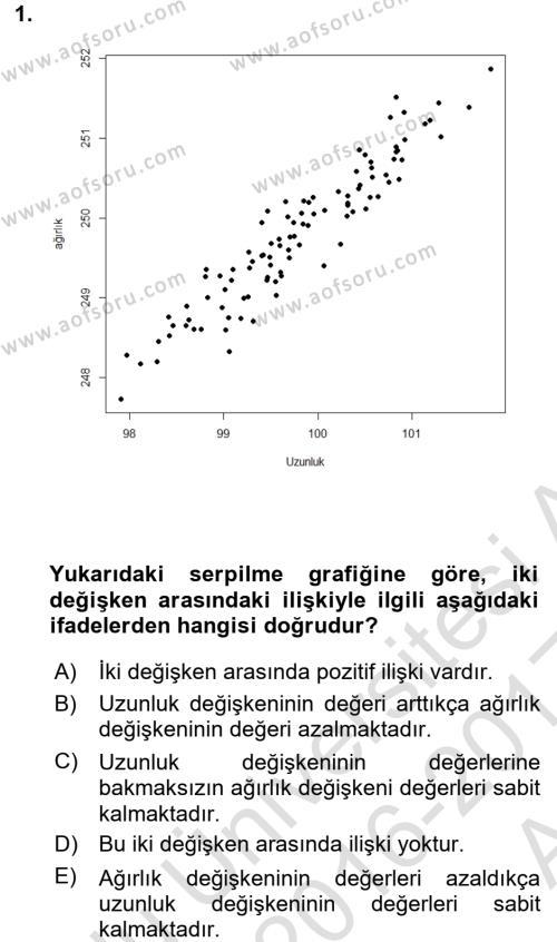 İstatistik Dersi 2016 - 2017 Yılı (Vize) Ara Sınavı 1. Soru