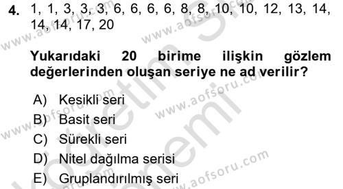 İstatistik Dersi 2016 - 2017 Yılı (Vize) Ara Sınavı 4. Soru