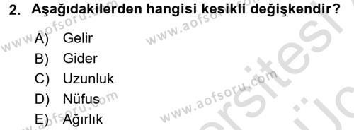 İstatistik Dersi 2018 - 2019 Yılı 3 Ders Sınavı 2. Soru