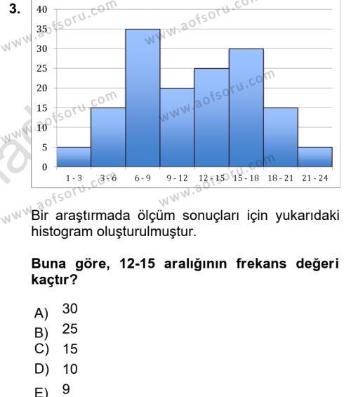 İstatistik Dersi 2018 - 2019 Yılı 3 Ders Sınavı 3. Soru