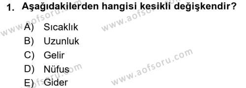 İstatistik Dersi 2018 - 2019 Yılı (Vize) Ara Sınavı 1. Soru